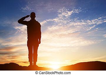 armia, salute., sylwetka, sky., żołnierz, zachód słońca, military.