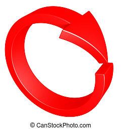 arrow., czerwony, cycle.