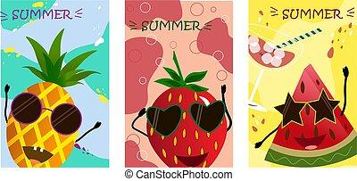 artoon, owoce, -, ananas, truskawka, arbuz, barwny, tło.