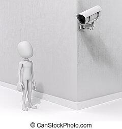 asekuracyjny aparat fotograficzny, 3d, człowiek