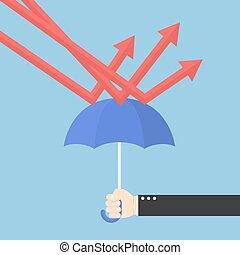 asekurować, parasol, wykres, ręka, downtrend, biznesmen, używając