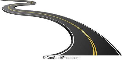 asfalt, abstrakcyjny, odizolowany, tło., biały, droga