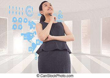 asian, złożony, myślenie, kobieta interesu, wizerunek