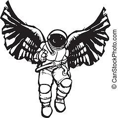 astronauta, anioł