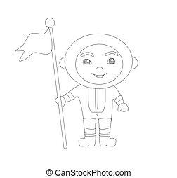 astronauta, sprytny, -, bandera, kolorowanie, chłopiec, książka