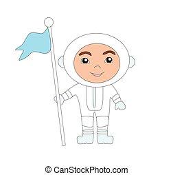 astronauta, sprytny, -, ilustracja, bandera, chłopiec, odizolowany