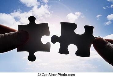 atak, zagadka, dwa, razem, kawałki, siła robocza, trudny