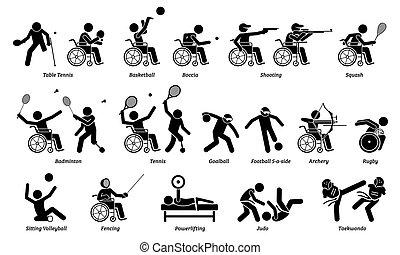 atleta, icons., upośledzony, sport, wtykać, domowy, niepełnosprawny, figury, igrzyska