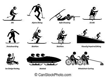atleta, zima, icons., lekkoatletyka, upośledzony, wtykać, niepełnosprawny, figury, igrzyska