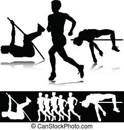 atletyka, wektor, sport, sylwetka