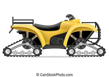 atv, od, ilustracja, cztery, ślady, wektor, motocykl, drogi