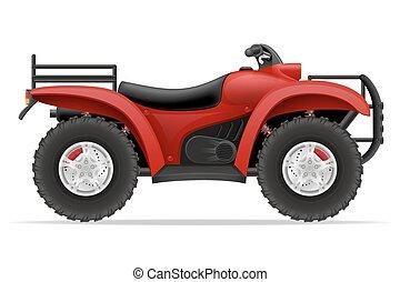 atv, od, ilustracja, cztery, wektor, motocykl, drogi, koła