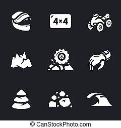 atv, wektor, komplet, icons.