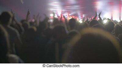 audiencja, oklaskując, koncert, podniecony