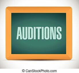 auditions, deska, ilustracja, znak