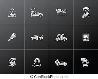 auto, metaliczny, -, ubezpieczenie, ikony
