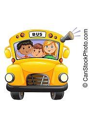 autobus, dzieciaki, żółty