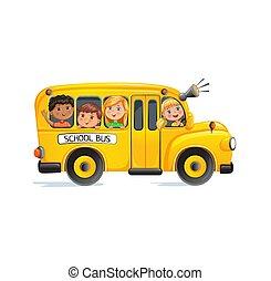autobus, dzieciaki, szkoła