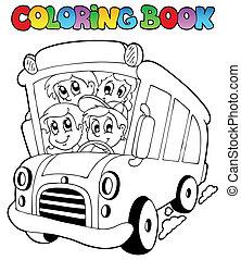 autobus, koloryt książka, dzieci