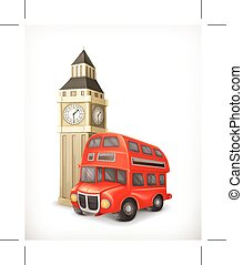 autobus, londyn, ben, cielna