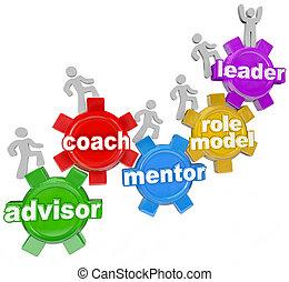 autobus, przewodniczy, mentor, advisor, ty, osiągnąć, cele