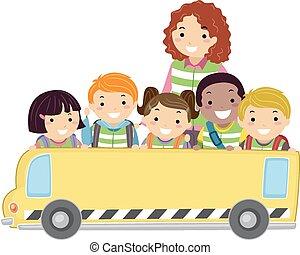 autobus, stickman, dzieciaki, chorągiew
