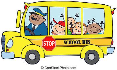 autobus, szkoła dzieci, szczęśliwy