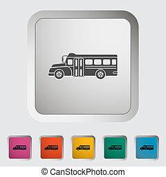 autobus, szkoła, icon., płaski