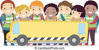autobus, sztubacy, chorągiew, stickman