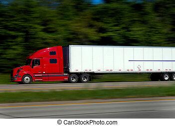 autostrada, pół, ciężarówki