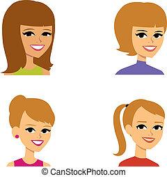 avatar, kobiety, rysunek, ilustracja portretu