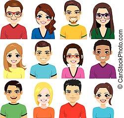 avatar, zbiór, ludzie