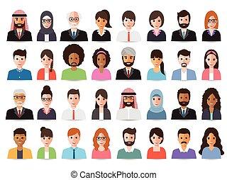 avatars., biznesmeni, handlowe kobiety