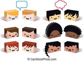 avatars, wektor, rozmaitość