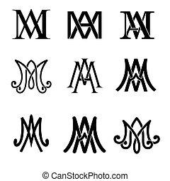 ave, set., maria, katolik, monogram, symbolika, religijny, signs.