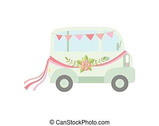 awangarda mini, rocznik wina, ilustracja, kwiaty, wektor, retro, autobus, ślub, bandery, ozdobny, wstążki, widok budynku