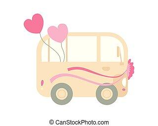 awangarda mini, romantyk, autobus, ślub, ilustracja, retro, wektor, wstążki, serca, rocznik wina, ozdobny, widok budynku