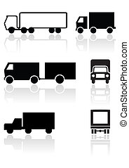 awangarda, symbol, wektor, wózek, albo, set.