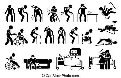 ból, pain., wyrządzony, ciało, człowiek, stary, połączenie