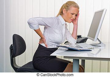 ból, wstecz, biuro, kobiety