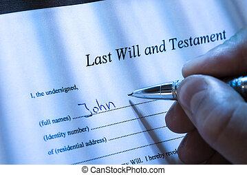 będzie, osoba, ostatni, testament, pisanie