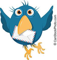 błękitna koperta, ptak