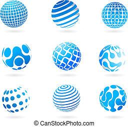 błękitna kula, 3d, zbiór, ikony