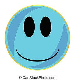 błękitna twarz, odizolowany, guzik, uśmiech
