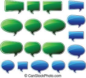 błękitna & zieleń, mowa, szykowny, bańki