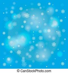 błękitne światła, płatki śniegu, tło blurry