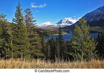 błękitne góry, jezioro, śnieg, ciemny, przeziębienie, kanada