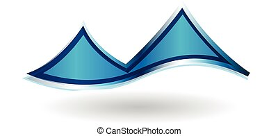 błękitne góry, sieć, wektor, logo, ikona