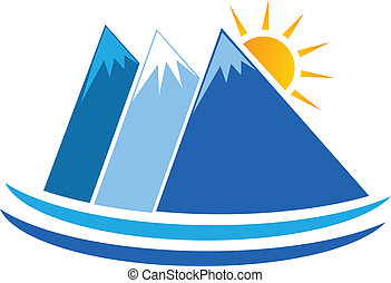 błękitne góry, wektor, logo