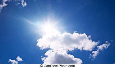 błękitne niebo, biały, przelotny, chmury